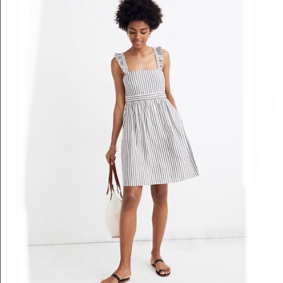 Madewell Dresses & Skirts - Madewell Striped Ruffle Strap Empire Dress